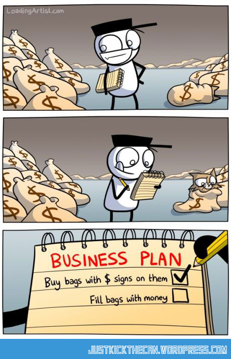 Funny Business Plan Money Cartoon