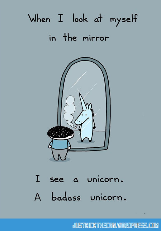 funny-cartoon-badass-unicorn-mirror